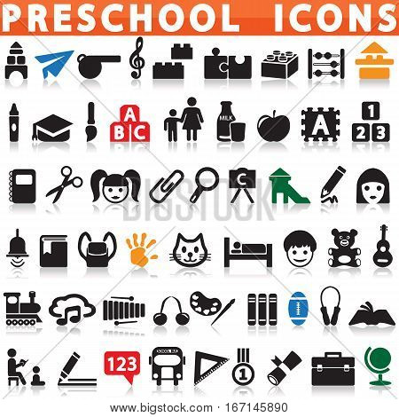 Preschool Icons on a white background with a shadow