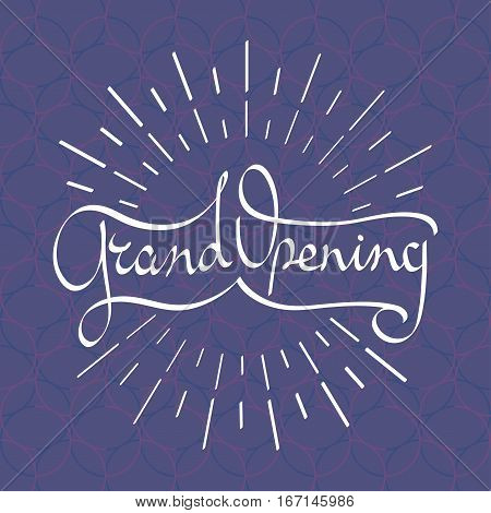 Grand opening vector banner, illustration. Template design element with Arabic style lettering for new shop or startup opening ceremony can be used as poster or background