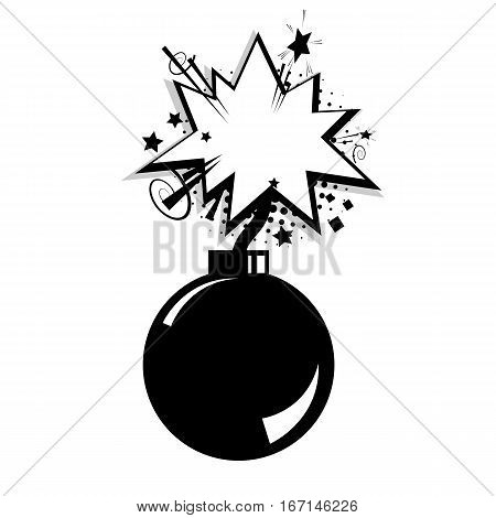 Blank bomb  template comic text speech cloud bubble halftone dot background style pop art. Creative composition idea conversation comics book sketch explosion sudden burst bomb