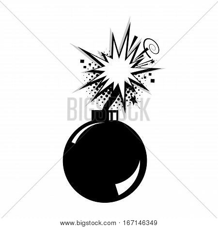 Explosion burst bomb. Blank bomb template comic text speech cloud bubble. Halftone dot background style pop art. Dialog empty space. Creative idea conversation comics book sketch.