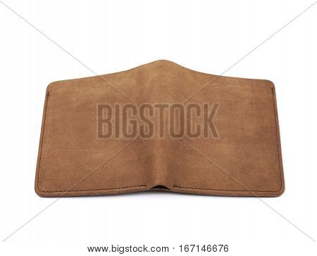Flat foldable brown leather wallet isolated over the white background