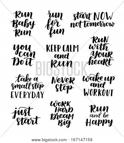 Set Of Sports Lettering Quote About Running. Labels And Emblems Vector Illustration. Sport Motivatio