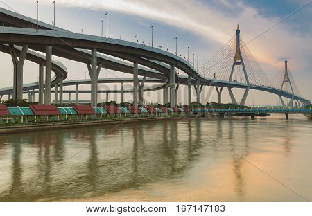 Bangkok Twin suspension bridge over watergate connect to highway interchanged Thailand