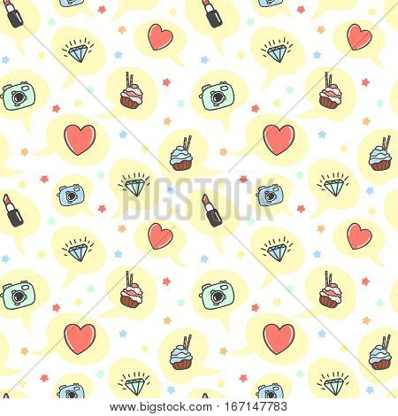 Cartoon style seamless pattern. Hand drawn icons repeating without seams. Camera, lipstick, cake, heart, love, diamond in speech bubble. Girl dreams vector illustration.