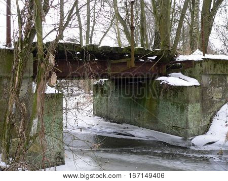 Old Railway Bridge in Czech Republic.The bridge is unused, decaying in nature