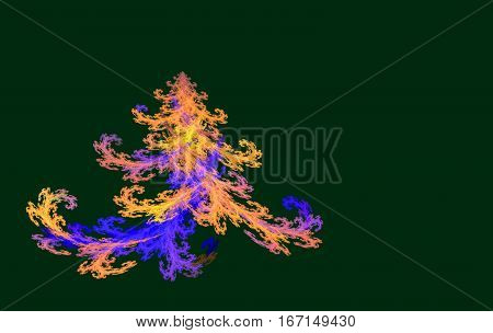 colorful fractal Christmas tree on a green