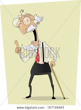 Grandfather standing with stick and finger up. Old man person talking. Vector character. Able to edit