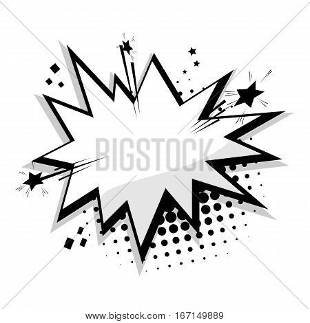 Blank template comic text speech bubble star, halftone dot background style pop art. Dialog empty box space. Creative composition idea conversation comics book sketch explosion sudden burst bomb