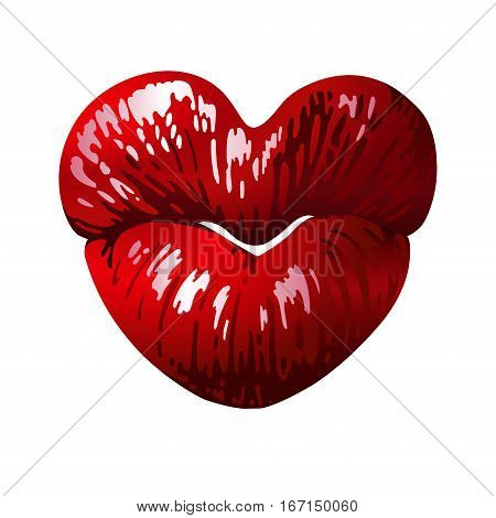 Heart shaped female lips, love symbol. Vector graphic design for Valentine's Day greeting card, t-shirt, cosmetic ads etc. Detailed version.