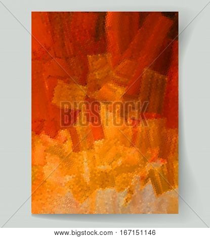 Abstract painting background with orange and brown spots. Vector illustration
