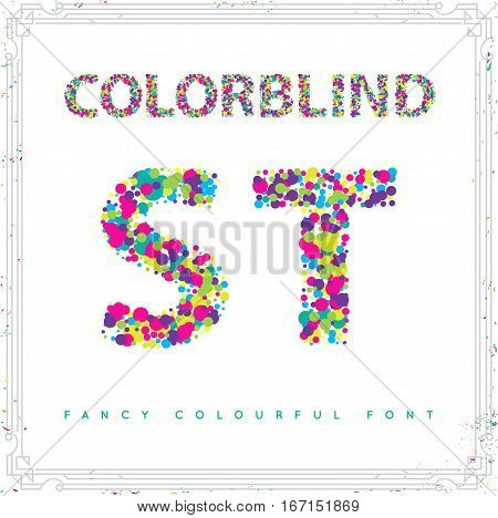 514450 Set Of Colorblind Style Font In Vector. Fresh Trendy Colors.