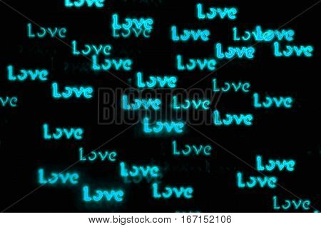 St Valentines Day background with blue word Love bokeh - St Valentines Day postcard
