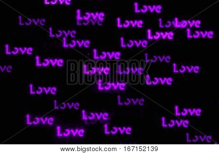St Valentines Day background with purple word Love bokeh - St Valentines Day postcard