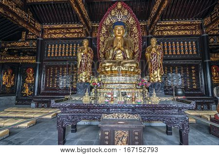 China Xi'an. Da Ci En Temple which was built in the middle of the seventh century. The interior of the temple.