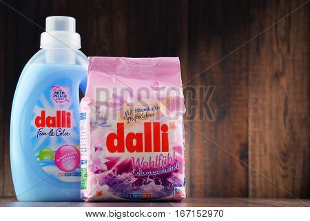 POZNAN POLAND - JAN 19 2017: Dalli Group belongs to the worlds top rankings in high quality washing detergents soaps cleansers and hair- and bodycare products