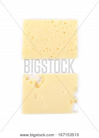 Single slice of cheese isolated over the white background, set of two different foreshortenings