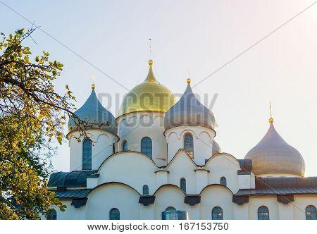 Saint Sophia Cathedral domes in Veliky Novgorod Russia. Architecture landscape of Veliky Novgorod Russia landmark