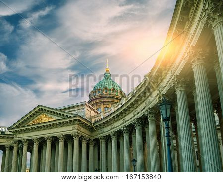 Kazan Cathedral in St Petersburg Russia - architecture landscape of St Petersburg landmark. St Petersburg architecture landscape