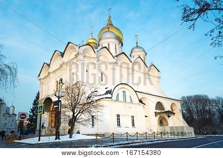 The Cathedral of Archangel on Cathedral Square in Moscow Kremlin in winter