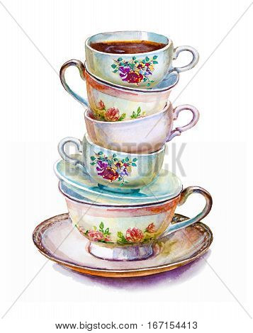 Party colorful tea cups and saucers closeup. Sketch handmade. Postcard for Valentine's Day. Watercolor illustration.