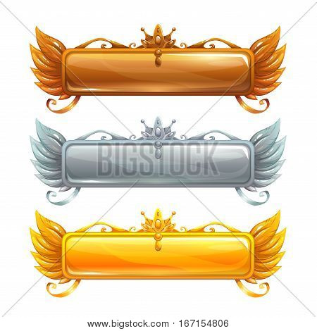 Cartoon vector title banners set for epic game design. Bronze, silver and golden frames. Isolated on white.