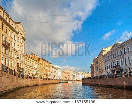 ST PETERSBURG RUSSIA-OCTOBER 3 2016. Embankment of Moika river in sunny day in St Petersburg Russia