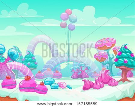 Cool cartoon fantasy sweet world vector background. Candyland landscape illustration.