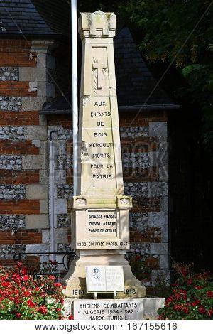 Bois Heroult France - june 23 2016 : the war memorial