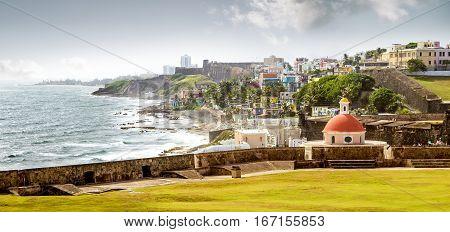 Panorama of La Perla slum in old San Juan Puerto Rico