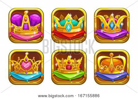 Cool game icons with golden rare crowns on the colorful pillows. Vector app elements.