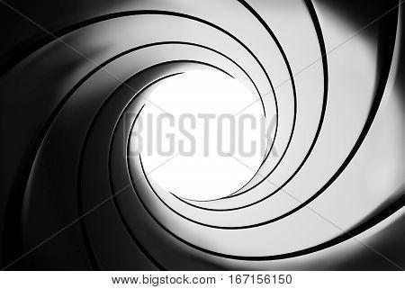 Spiral Gun barrel effect - 3D illustration