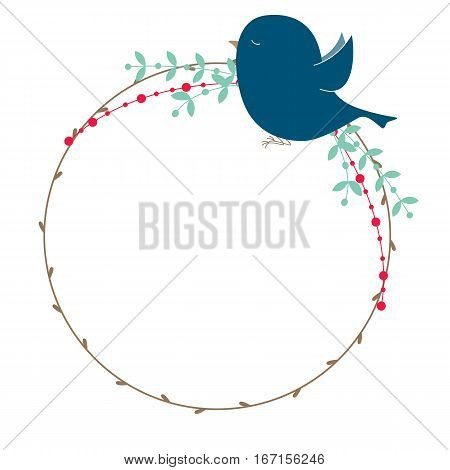 Vector rustic wreath with bird, branches and leaves.
