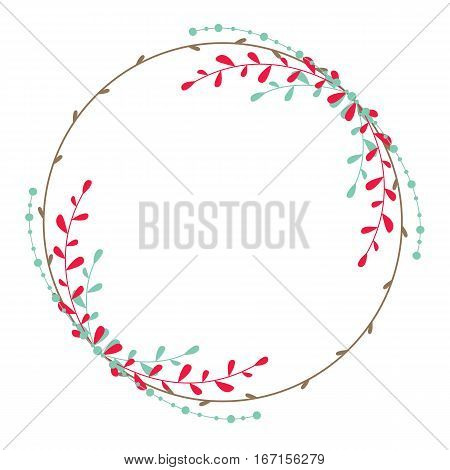 Vector rustic wreath with branches and leaves.