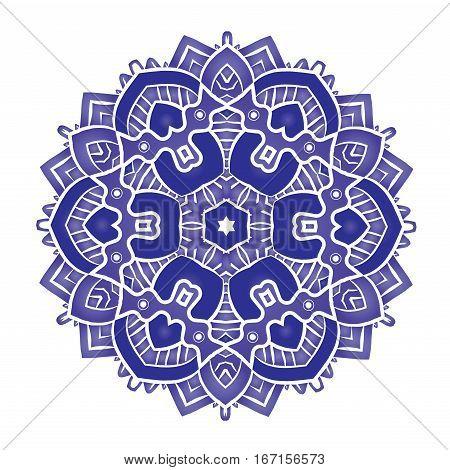 Ethnic Psychedelic blue Fractal Mandala Vector Meditation looks like Snowflake