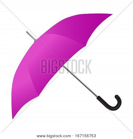 The image of the umbrella with a lilac material on the frame on a white background
