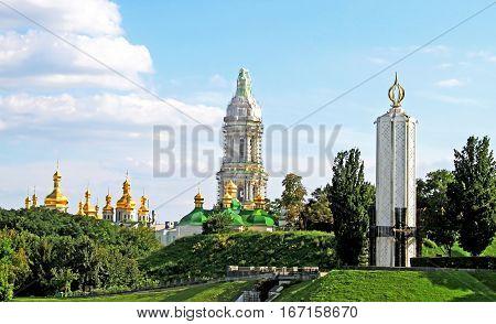 Kyiv-Pechersk Lavra monastery and Memorial to sacrifice of famine in Kyiv. Ukraine