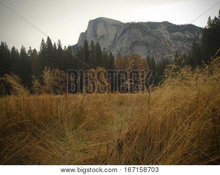 Half Dome in Yosemite National Park, fall travel.