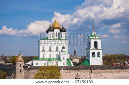 The ancient architecture of the ancient Russian city of Pskov