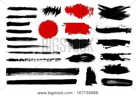 Set of black paint ink brush strokes brushes lines. Dirty artistic design elements boxes frames for text.