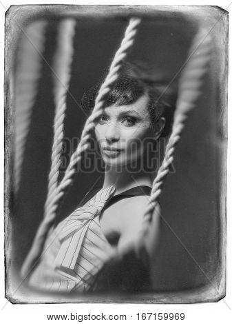 Young Girl In The Studio On A Swing.
