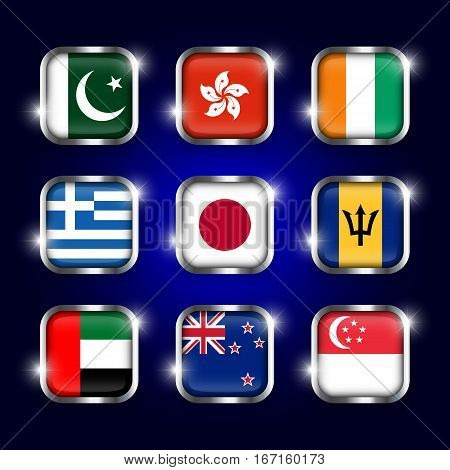 Set of world flags quadrangular glass buttons with steel border and twinkle ( Pakistan . Hong kong . Ivory Coast . Greece . Japan . Barbados . UAE . New zealand . Singapore )