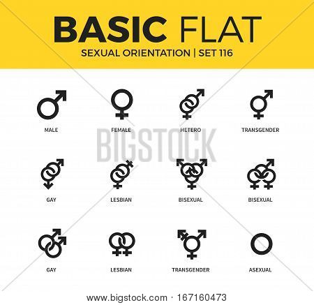 Basic set of lesbian, bisexual and gay icons. Modern flat pictogram collection. Vector material design concept, web symbols and logo concept.