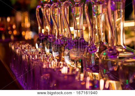 Glass carafe of water in holiday setting