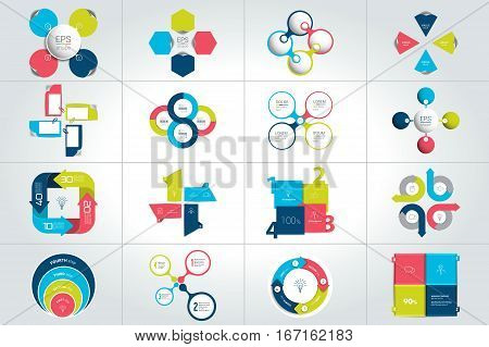 Mega set of circle, round 4 steps infographic templates, diagrams, graph, presentations, chart. Business concept.