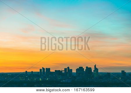 Aerial View Of La Defense In Paris At Sunset