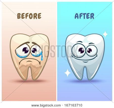 Funny cartoon teeth characters before and after whitening, vector illustration.
