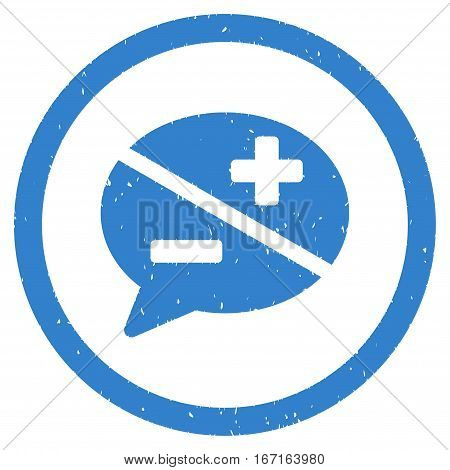 Arguments grainy textured icon inside circle for overlay watermark stamps. Flat symbol with dust texture. Circled dotted vector cobalt ink rubber seal stamp with grunge design on a white background.