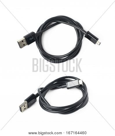 Black folded USB cable isolated over the white background, set of two different foreshortenings
