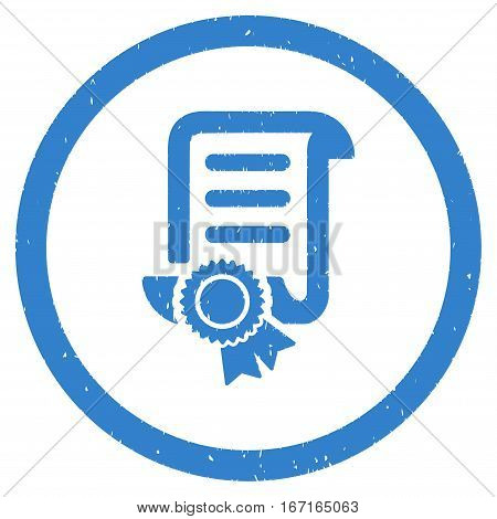 Certified Scroll Document grainy textured icon inside circle for overlay watermark stamps. Flat symbol with scratched texture.
