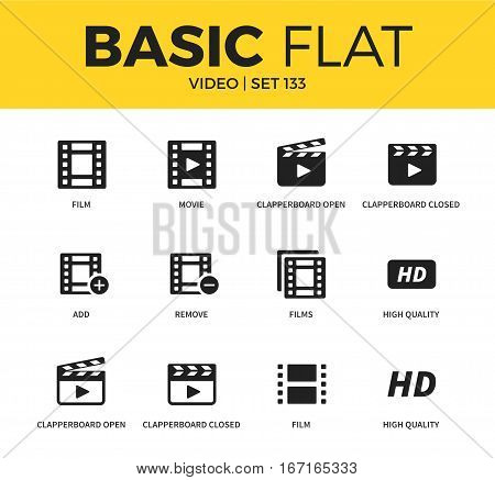 Basic set of high quality, movie and films icons. Modern flat pictogram collection. Vector material design concept, web symbols and logo concept.